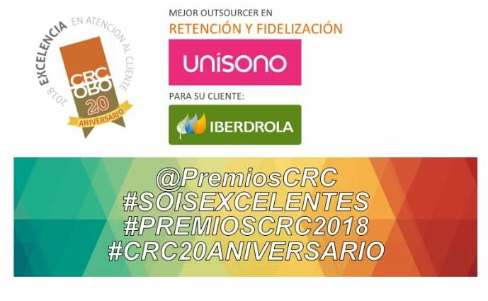 Grupo Unísono recibe galardón en los Premios CRC 2018